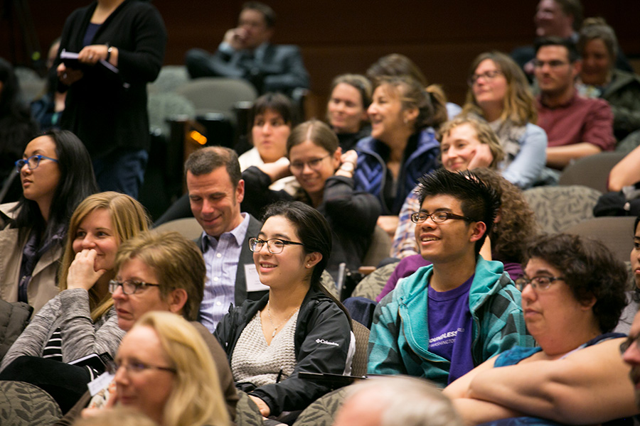 An engaged audience of about 450 people attended the event at UW's Kane Hall.