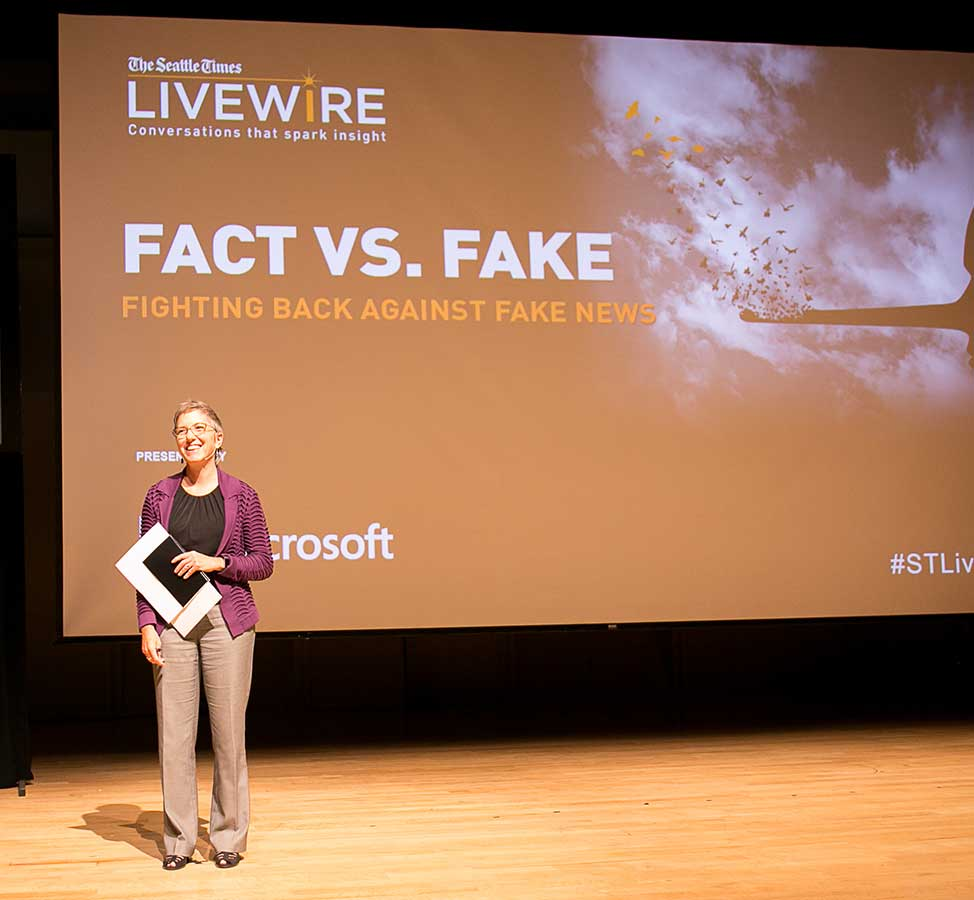 "Sept. 13, 2017: LiveWire ""Fact or fake: Fighting back against fake news"": Seattle Times Managing Editor Michele Matassa Flores said, ""Twitter is the news delivery truck of today. It is not the source."""
