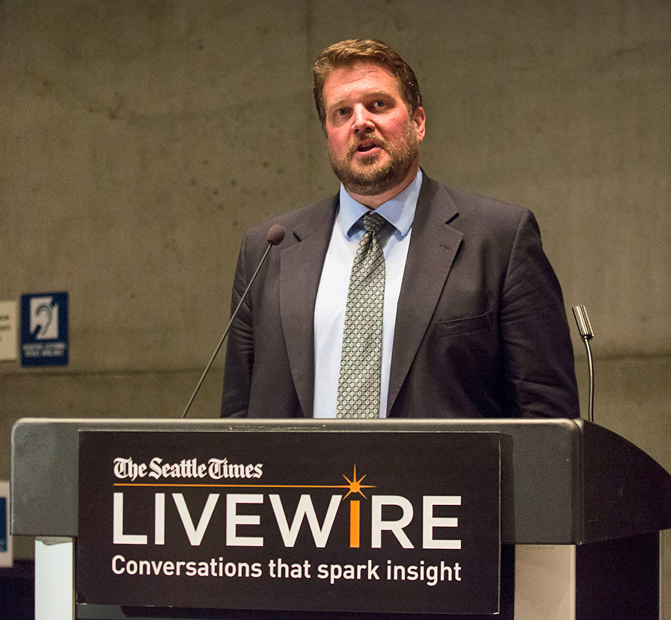 "Dec. 6, 2017: LiveWire ""Homework without a home: Helping homeless students in Seattle"": Jonathan Martin, editor of The Seattle Times' Project Homeless, moderated the panel discussion."